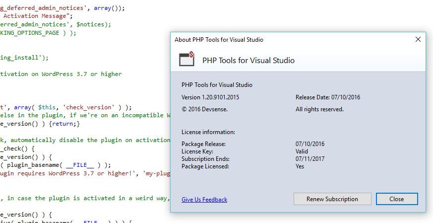 PHP debugger per visual studio 2015