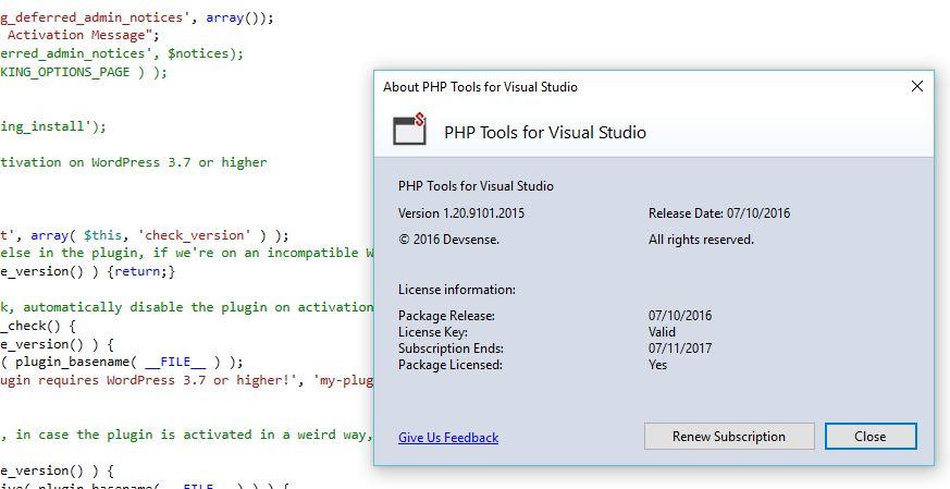 PHP debugger per visual studio 2015