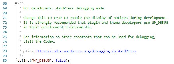 abilitare debug nel file config.php di wordpress
